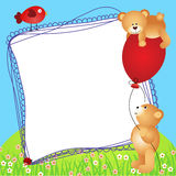 Teddy bears with balloon scrapbook frame Royalty Free Stock Photo