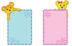 Teddy bears banners. Teddy bears girl and boy banners or picture frames vector illustration