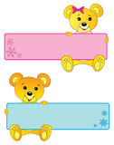 Teddy bears banners. Teddy bears, cute girl and boy banners or frames royalty free illustration