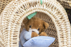 Teddy bears in the basket Stock Photography