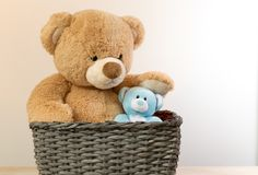 Brown a blue toys teddy bears royalty free stock images