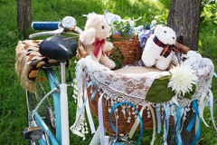 Teddy bears in a bike basket Royalty Free Stock Photos