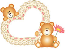 Teddy bears with blank embroidered heart Royalty Free Stock Image