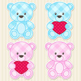 Teddy bears in blue and pink colors Stock Photography