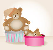 Teddy bears in boxes Stock Image