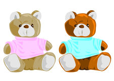 Teddy Bears, for boys and girls. (two colours vector illustration