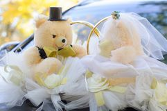 Teddy bears on the car. Wedding decor. Wedding Teddy Bears. Wedding tuple stock photos
