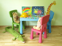 Teddy bears in children's room Royalty Free Stock Photos