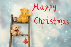 Teddy Bears At Christmas Royaltyfri Bild
