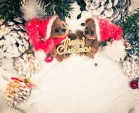 Teddy bears in christmas still life Stock Images