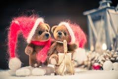 Teddy bears in christmas still life Stock Photography