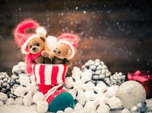 Teddy bears in christmas still life Royalty Free Stock Photos