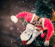 Teddy bears in christmas still life Stock Photos