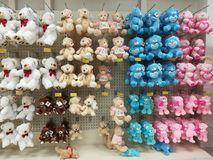 Teddy bears hanging in a store royalty free stock image