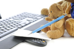 Teddy bears  and a computer Stock Image