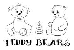 Teddy Bears con i giocattoli, contorni Fotografie Stock Libere da Diritti