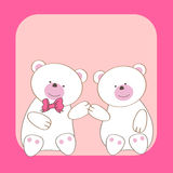 Teddy bears couple cartoon card Royalty Free Stock Photography