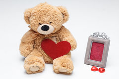 Teddy Bears couple with red heart. Valentines Day Royalty Free Stock Image