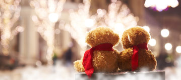 Teddy bears Couple sitting Royalty Free Stock Image