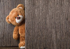 Teddy bears. Cute teddy bears on old wood background with copy space Royalty Free Stock Photo