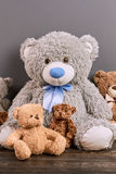 Teddy bears of different size. Royalty Free Stock Photography
