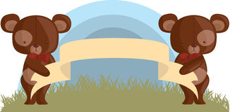 Teddy Bears with an empty banner. Two specular Teddy Bears are carrying an empty banner Stock Images