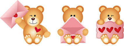 Teddy bears with envelope and heart postcard Royalty Free Stock Image