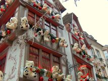 Teddy bears in facades. Christmas de corations in Strasbourg, Alsace stock photo