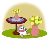 Teddy Bears and Flowers Stock Images