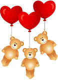 Teddy bears flying with heart balloons Stock Photo