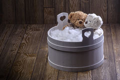 Teddy bears foam bath. At night Stock Image
