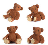 Teddy bears. Four teddy bears in different funny poses Royalty Free Stock Photos