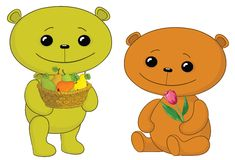 Teddy bears with fruits and flower Royalty Free Stock Images