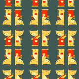 Teddy Bears. Funny bright seamless pattern on dark background. Royalty Free Stock Photography