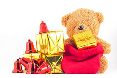Teddy bears with gift box in the New Year festival. Teddy bears with gift box in the Christmas or New Year festival Stock Image