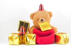 Teddy bears with gift box in the New Year festival. Teddy bears with gift box in the Christmas or New Year festival Stock Photography