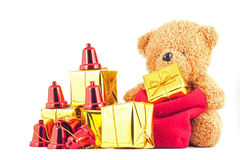 Teddy bears with gift box in the New Year festival. Teddy bears with gift box in the Christmas or New Year festival Royalty Free Stock Photo