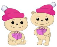 Teddy bears with gift boxes Royalty Free Stock Photography