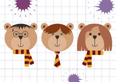 Teddy bears in Harry Potter, Ron Weasley and Hermione Granger disguise. Back to school vector illustration, flat style, checkered Stock Images