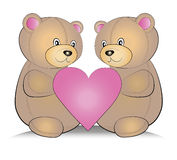 Teddy bears with heart Stock Photo