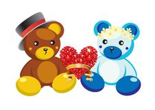 Teddy bears and hearts. Royalty Free Stock Photo