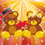 Teddy bears and hearts. Royalty Free Stock Images