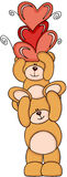 Teddy Bears With Hearts Photos libres de droits