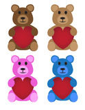 Teddy Bears With Hearts Stock Photography