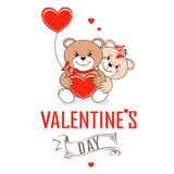 Teddy bears with hearts. Valentine`s Day. Teddy bears with hearts. Vector illustration Stock Photos
