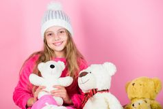 Teddy bears help children handle emotions and limit stress. Bears toys collection. Child small girl playful hold teddy. Bear plush toy. Kid little girl play royalty free stock photos