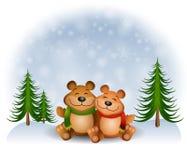 Teddy Bears Hugging Snow. An illustration featuring a pair of teddy bears hugging and snuggling in the snow Stock Photo