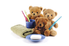 Teddy bears and hygiene products Stock Images