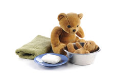 Teddy bears and hygiene products Royalty Free Stock Images