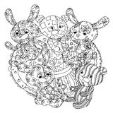 Teddy bears and leverets for coloring book Stock Photography